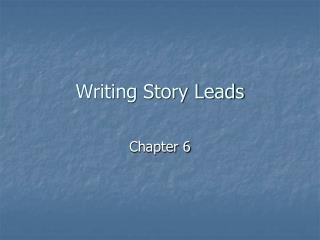 Writing Story Leads