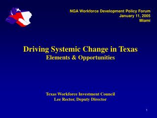 Driving Systemic Change in Texas Elements & Opportunities Texas Workforce Investment Council