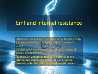 Emf and internal resistance