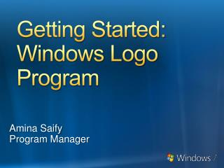 Getting Started: Windows Logo Program