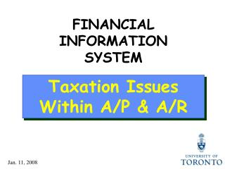 Taxation Issues Within A/P & A/R
