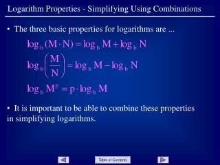 Logarithm Properties - Simplifying Using Combinations