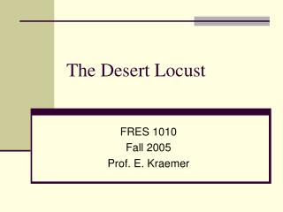 The Desert Locust