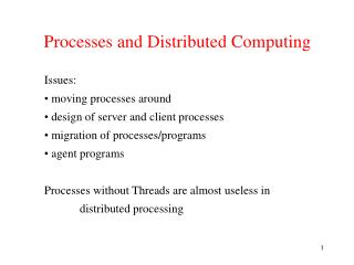Processes and Distributed Computing