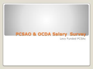 PCSAO & OCDA Salary  Survey