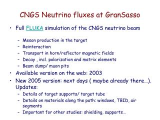 CNGS Neutrino fluxes at GranSasso