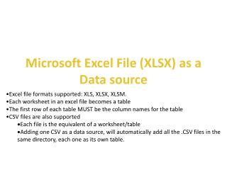 Microsoft Excel File (XLSX) as a  Data source