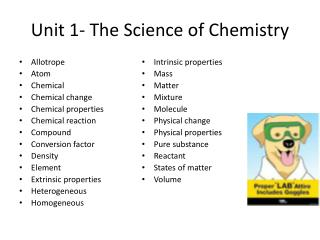 Unit 1- The Science of Chemistry