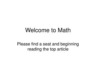 Welcome to Math