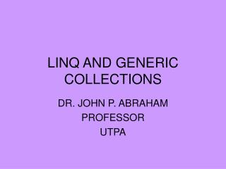 LINQ AND GENERIC COLLECTIONS