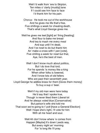 Lloyd George Song Lyrics