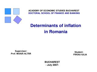 Determinants of inflation in Romania