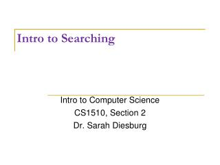 Intro to Searching