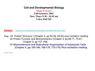 Cell and Developmental Biology Biology 52 Section 7