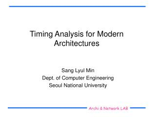 Timing Analysis for Modern Architectures