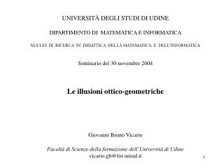 UNIVERSITÀ DEGLI STUDI DI UDINE DIPARTIMENTO DI  MATEMATICA E INFORMATICA
