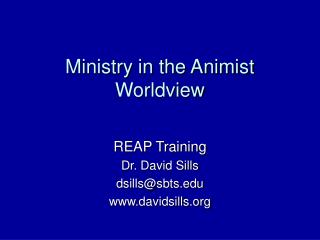 Ministry in the Animist Worldview