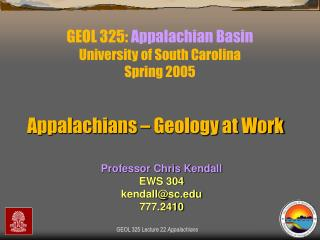 GEOL 325:  Appalachian Basin University of South Carolina Spring 2005