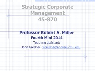 Strategic Corporate Management 45-870