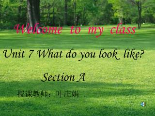 Welcome to my class Unit 7 What do you look like? Section A 授课教师:叶庄娟