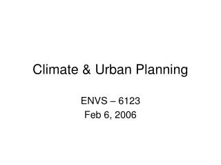 Climate & Urban Planning