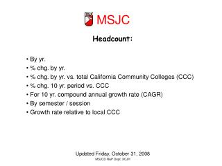 Headcount:  By yr.  % chg. by yr.  % chg. by yr. vs. total California Community Colleges (CCC)