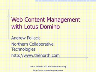 Web Content Management with Lotus Domino