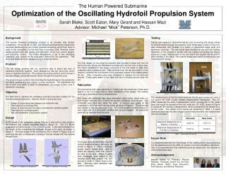 Optimization of the Oscillating Hydrofoil Propulsion System