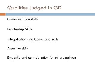 Qualities Judged in GD