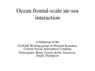 Ocean frontal-scale air-sea interaction