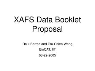 XAFS Data Booklet Proposal