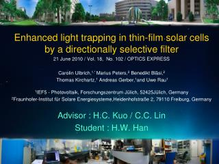 Enhanced light trapping in thin-film solar cells  by a directionally selective filter