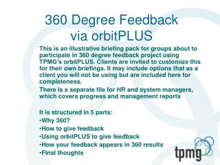 360 Degree Feedback via orbitPLUS