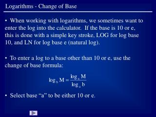 Logarithms - Change of Base