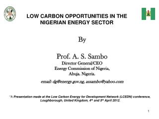 LOW CARBON OPPORTUNITIES IN THE NIGERIAN ENERGY SECTOR