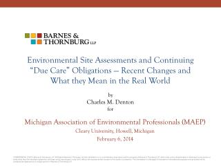 Michigan Association of Environmental Professionals (MAEP)  Cleary University, Howell, Michigan