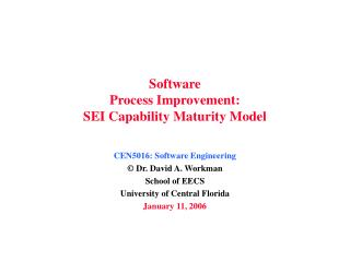 Software Process Improvement: SEI Capability Maturity Model