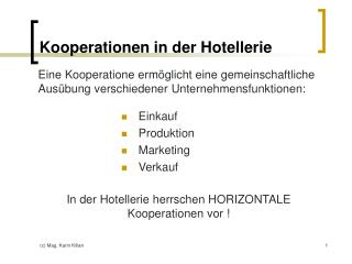 Kooperationen in der Hotellerie
