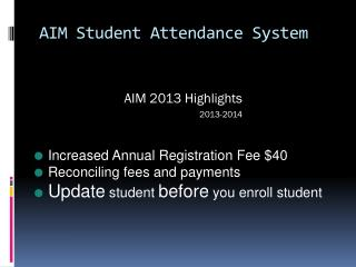 AIM Student Attendance System