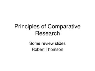 Principles of Comparative Research