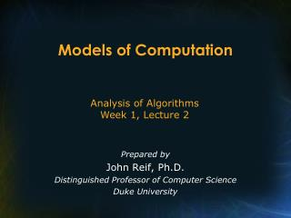 Models of Computation