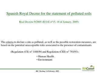 Spanish Royal Decree for the statement of polluted s oils