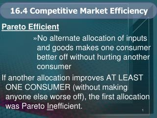 16.4 Competitive Market Efficiency