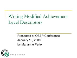 Writing Modified Achievement Level Descriptors