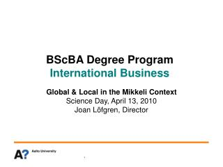 BScBA Degree Program International Business