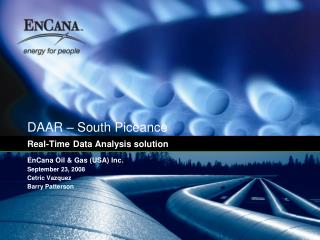 DAAR – South Piceance Real-Time Data Analysis solution