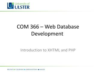 COM 366 – Web Database Development