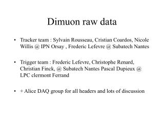 Dimuon raw data