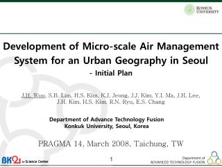 Development of Micro-scale Air Management System for an Urban Geography in Seoul -  Initial Plan