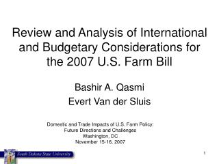 Review and Analysis of International and Budgetary Considerations for  the 2007 U.S. Farm Bill